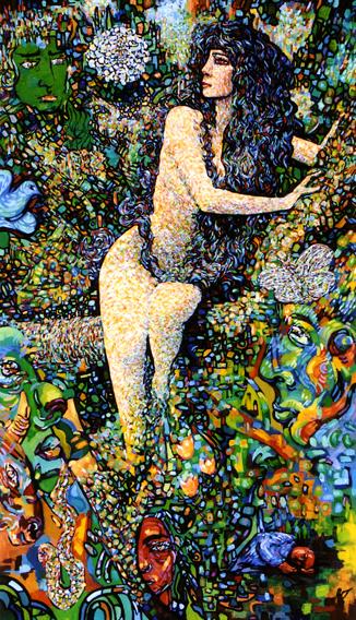 La femme dans l'arbre, conte malgache : peinture à l'huile