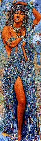 La fille du dragon, conte malgache : peinture à l'huile