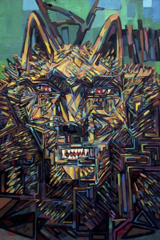 Loup : peinture à l'huile