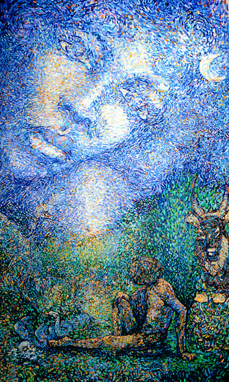 La promesse, conte malgache : peinture à l'huile