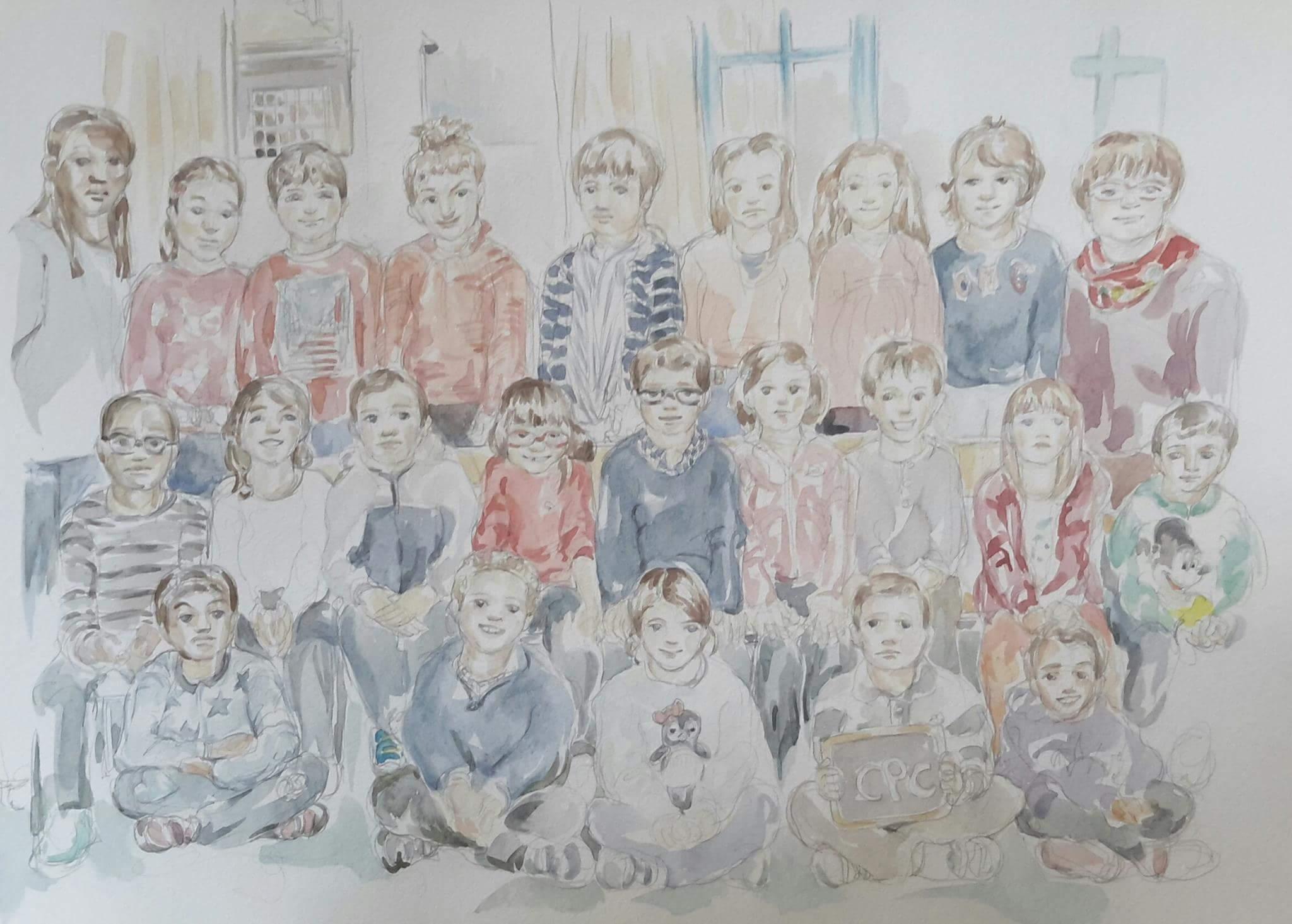 Charlie 4 classe : illustration aquarelle