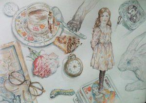 Alice au pays des merveilles : illustrations aquarelle