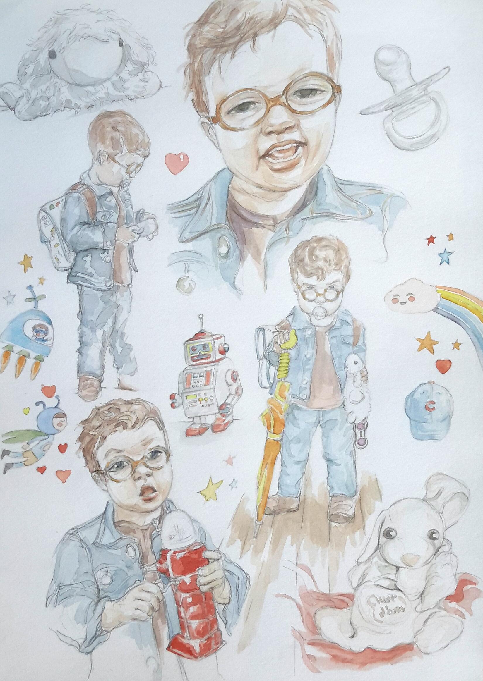 Charlie 10 : illustration aquarelle
