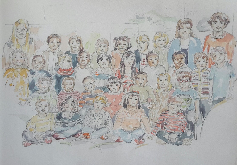 Charlie 3 classe : illustration aquarelle
