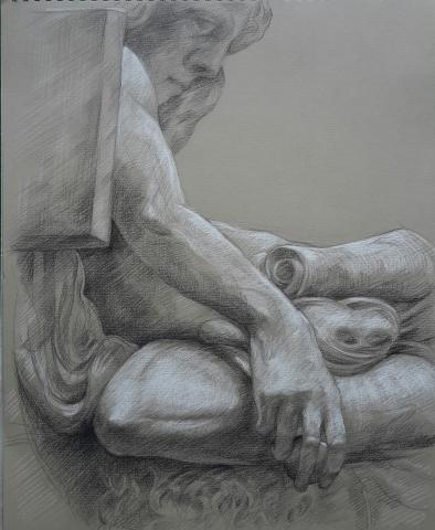 Jeunesse d'Aristote pierre noire et crayon blanc
