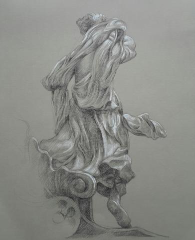 L' Aurore descendant de son char pierre noire et crayon blanc