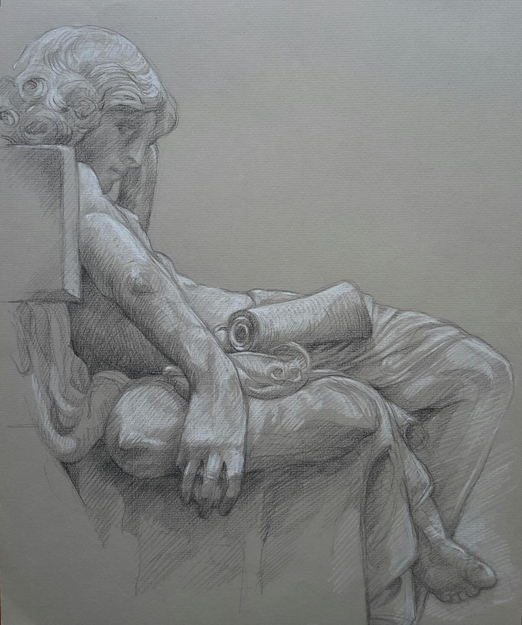 Jeunesse d'Aristote 2 pierre noire et crayon blanc