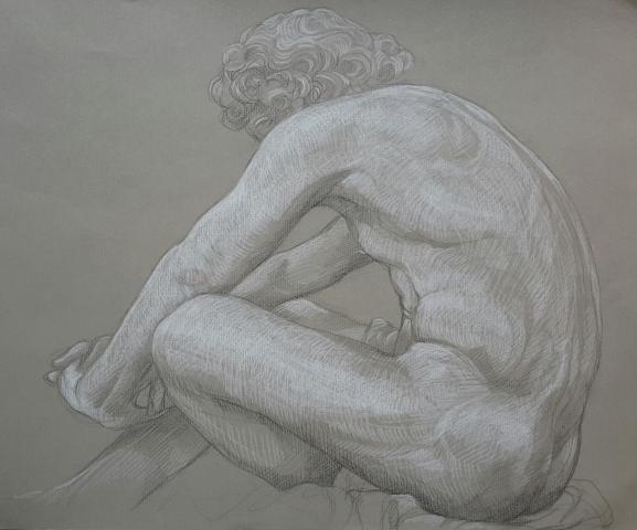 Le Désespoir pierre noire et crayon blanc