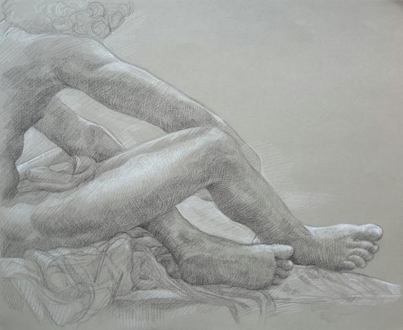 Le Désespoir 5 pierre noire et crayon blanc