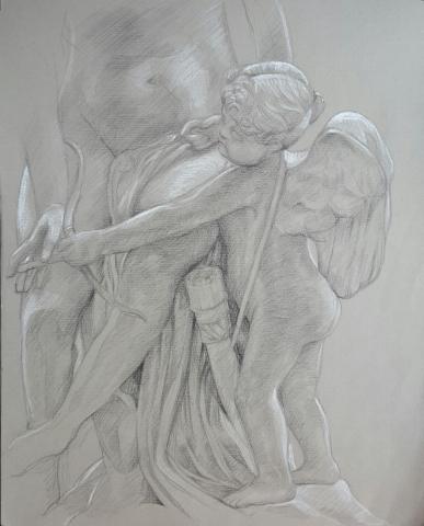 Vénus guidant les traits de l'Amour 1 : pierre noire et crayon blanc