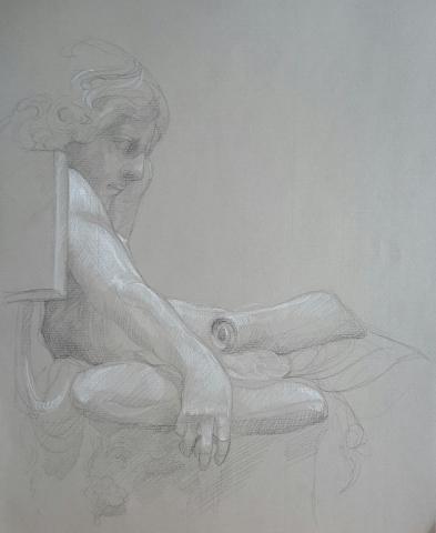Jeunesse d'Aristote 3 pierre noire et crayon blanc