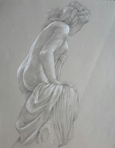 Diane 3 pierre noire et crayon blanc