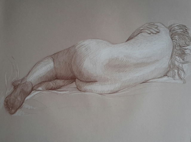 Modèle vivant 2 : sépia et crayon blanc