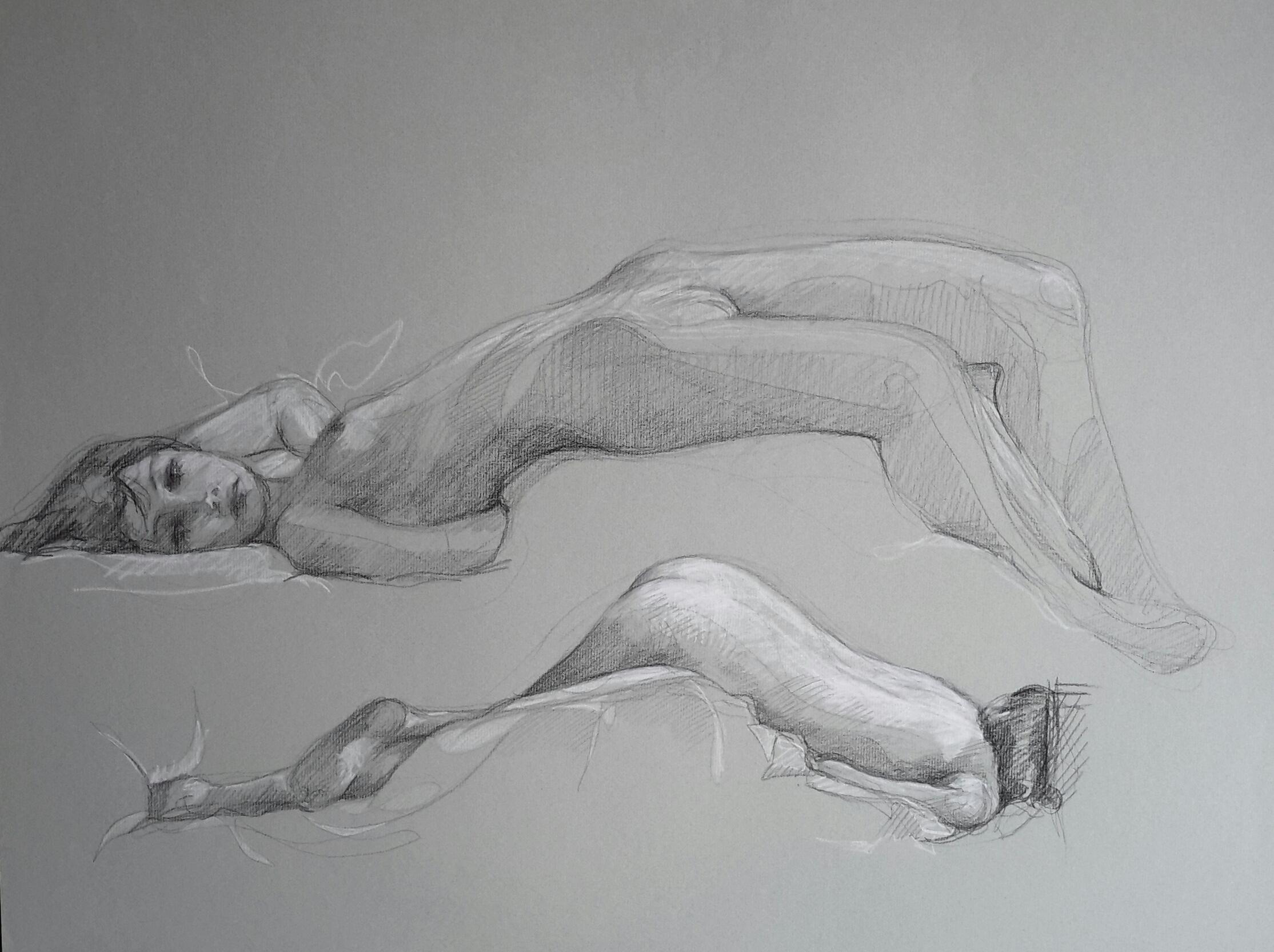 Modèle vivant 31 : pierre noire et crayon blanc