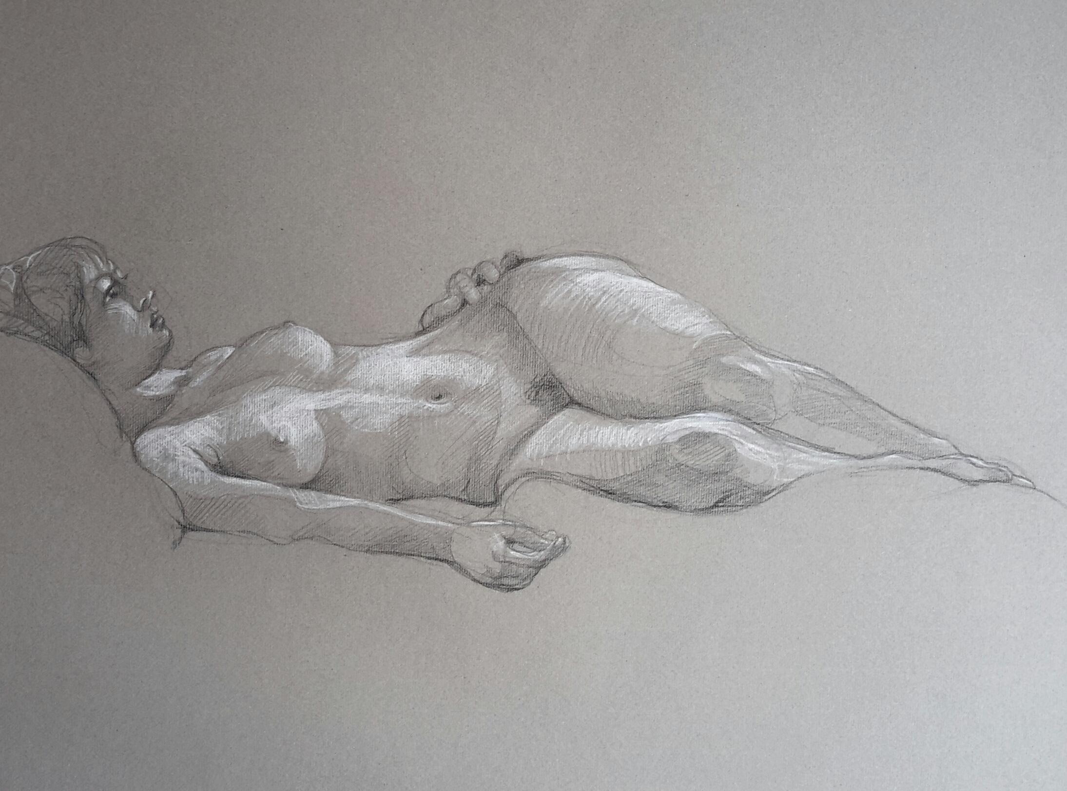 Modèle vivant : pierre noire et crayon blanc