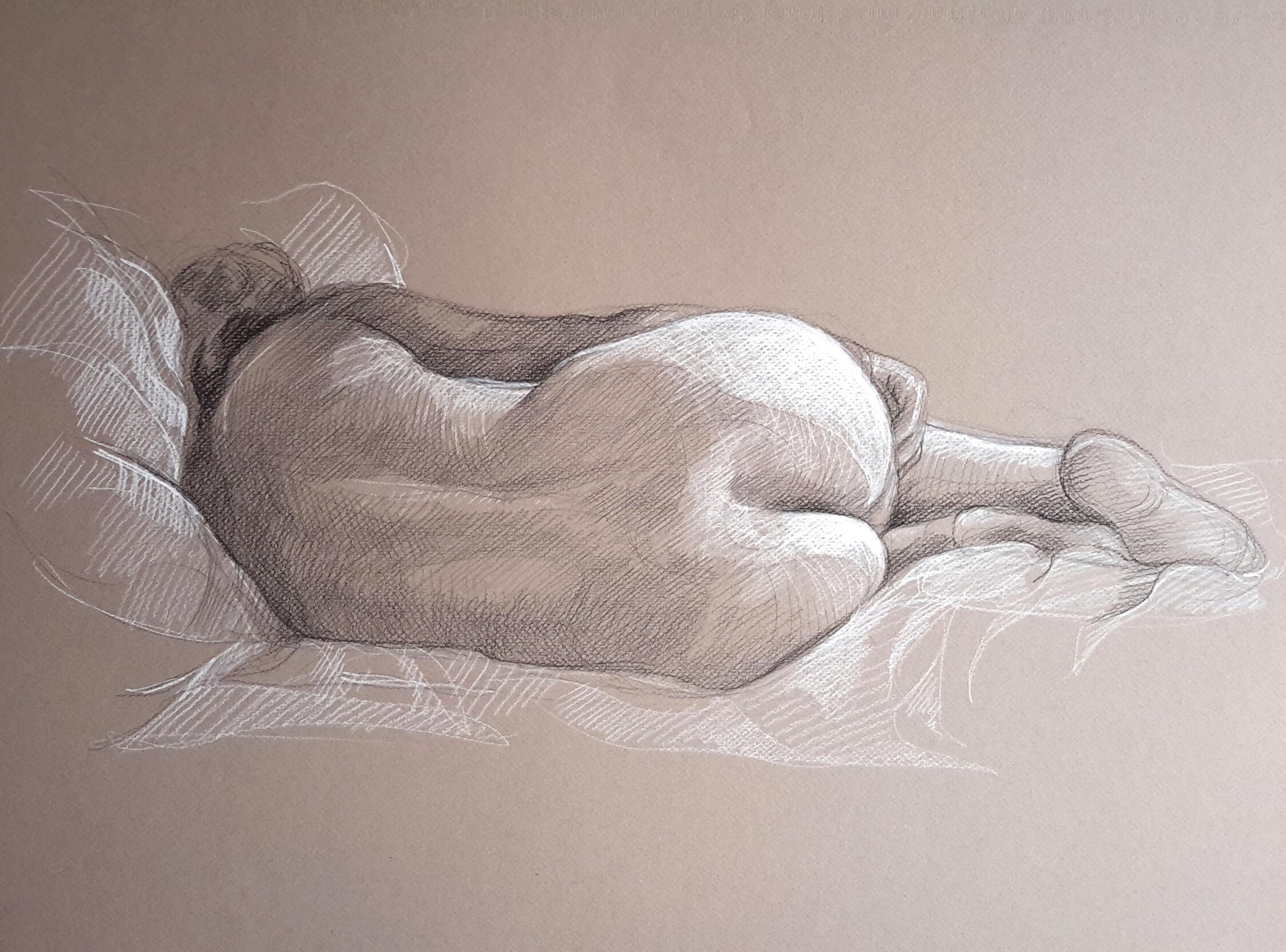 Modèle vivant 33 : pierre noire et crayon blanc