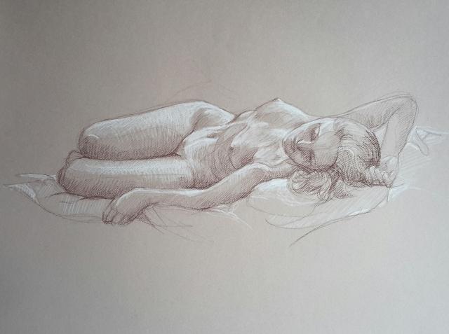Modèle vivant 5 : sépia et crayon blanc