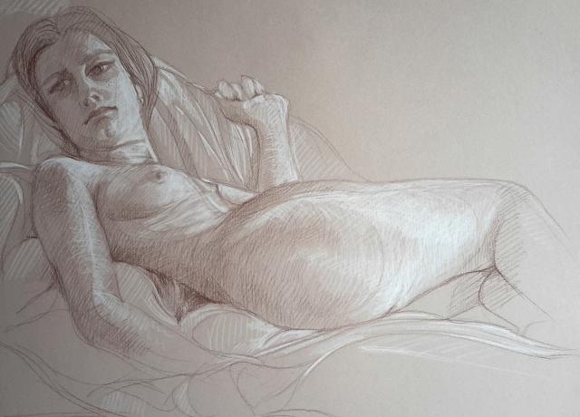 Modèle vivant 4 : sépia et crayon blanc