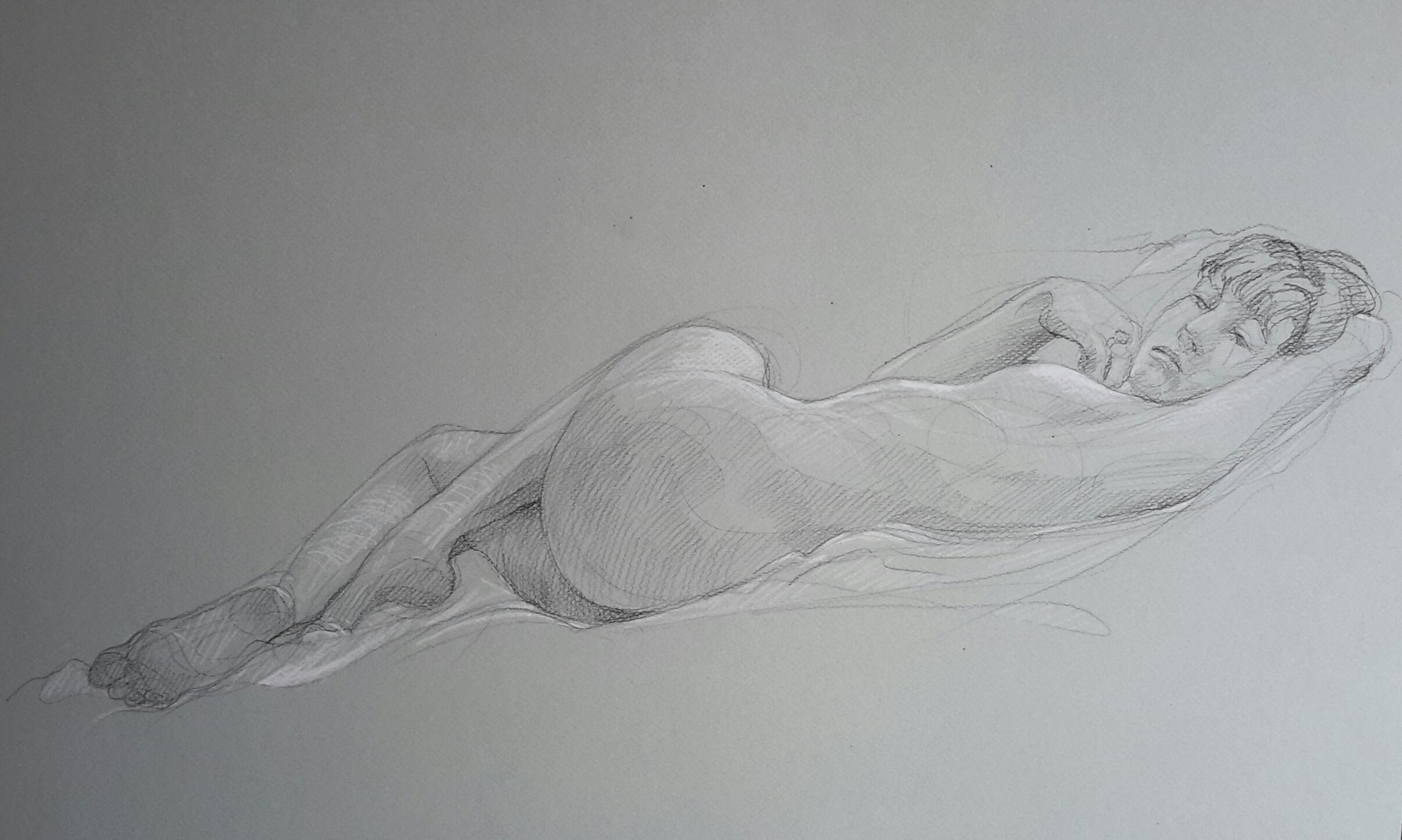 Modèle vivant 2 : pierre noire et crayon blanc