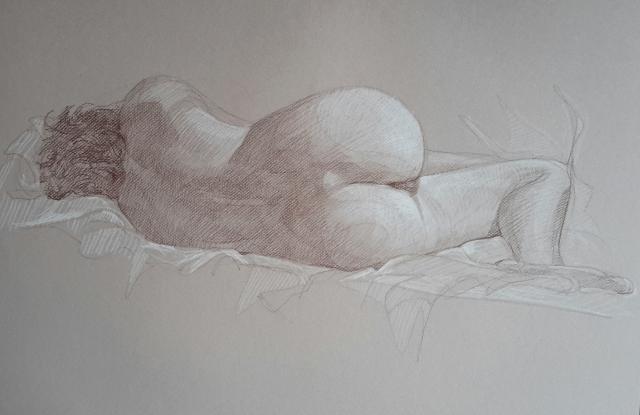 Modèle vivant 3 : sépia et crayon blanc