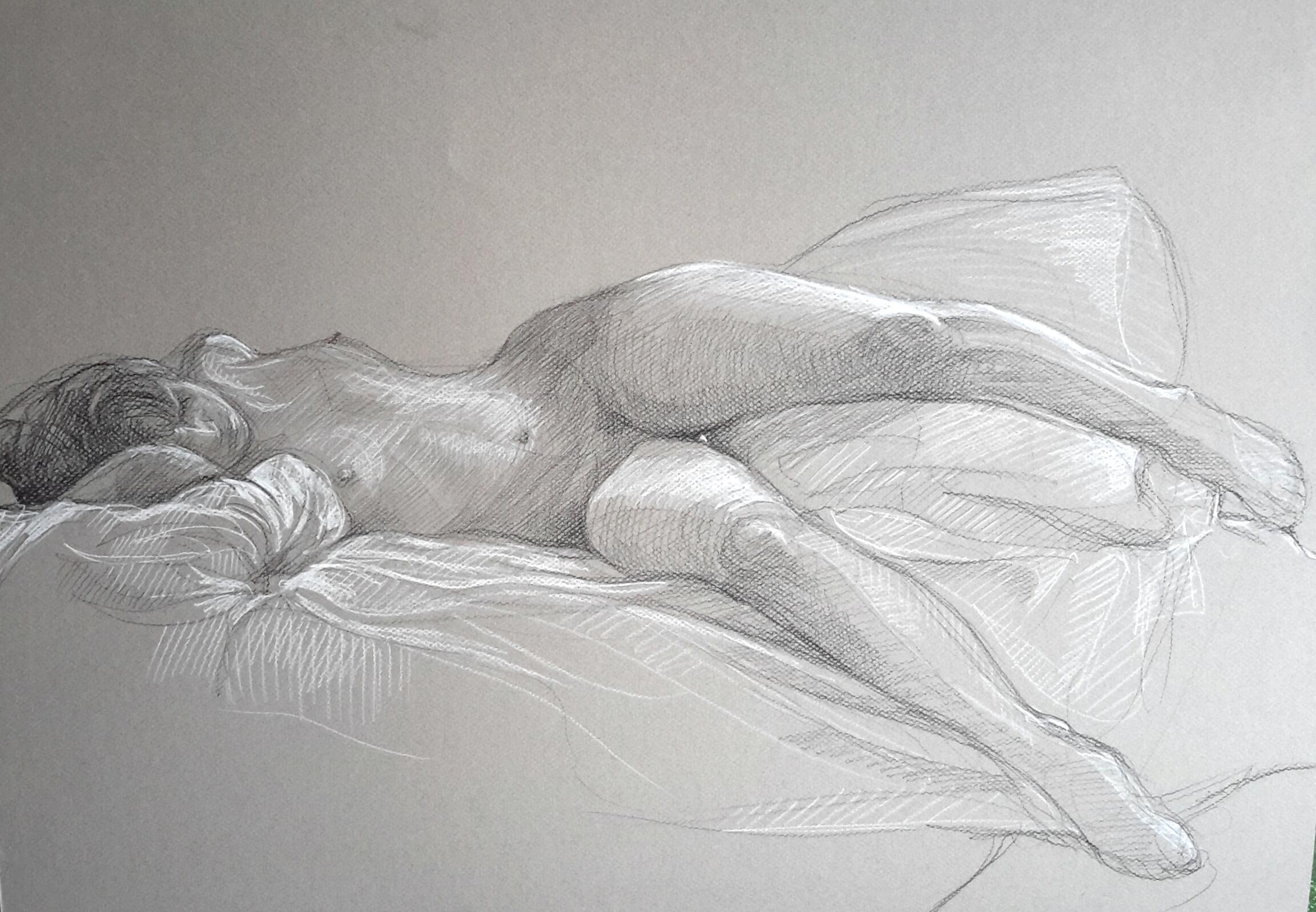 Modèle vivant 3 : pierre noire et crayon blanc
