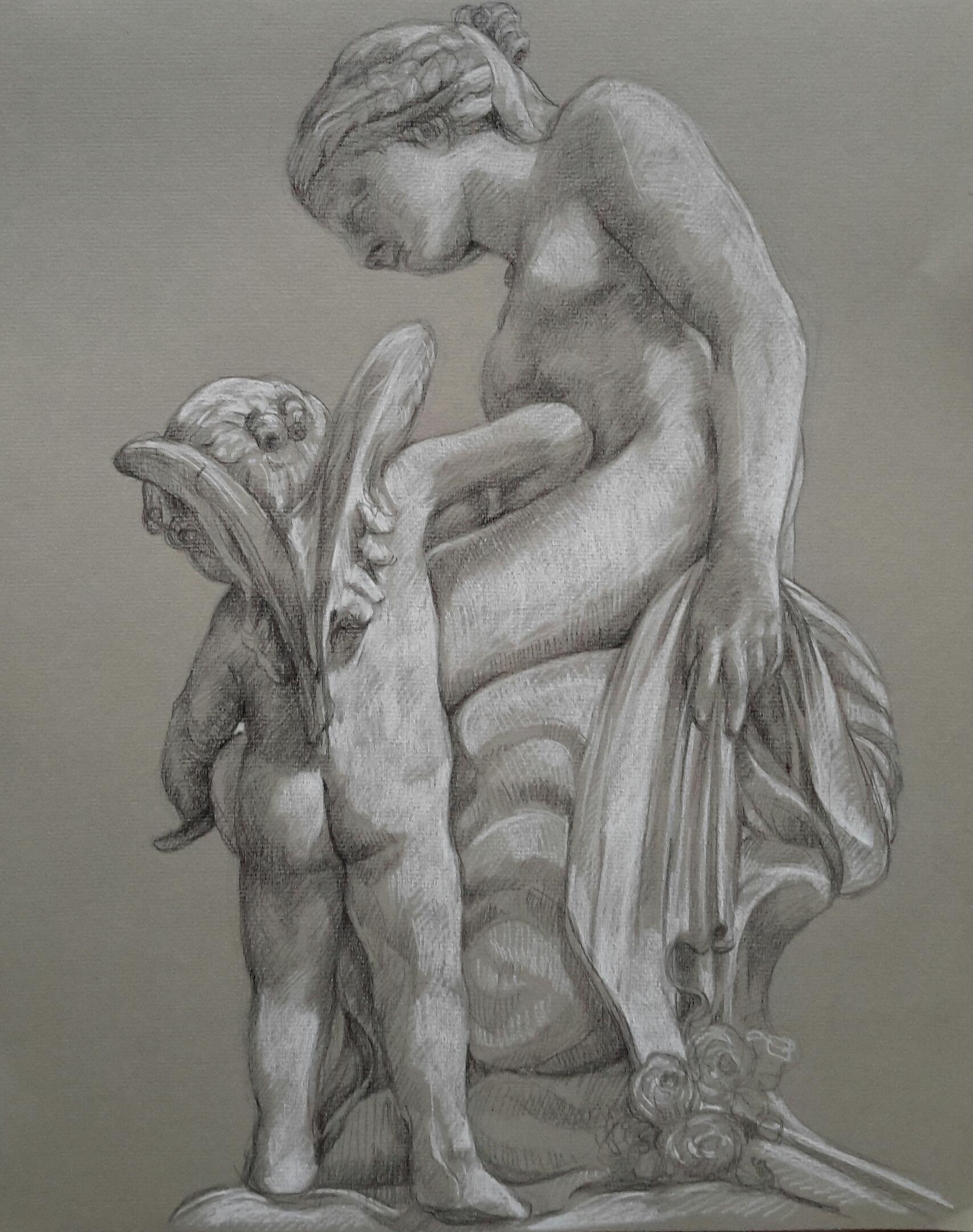 Vénus guidant les traits de l'Amour : pierre noire et crayon blanc