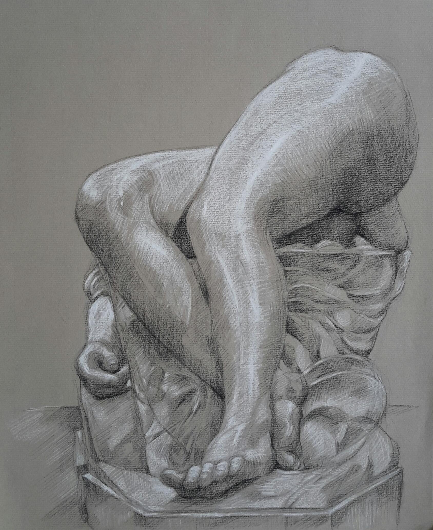 La Jeune Tarentine 2 pierre noire et crayon blanc