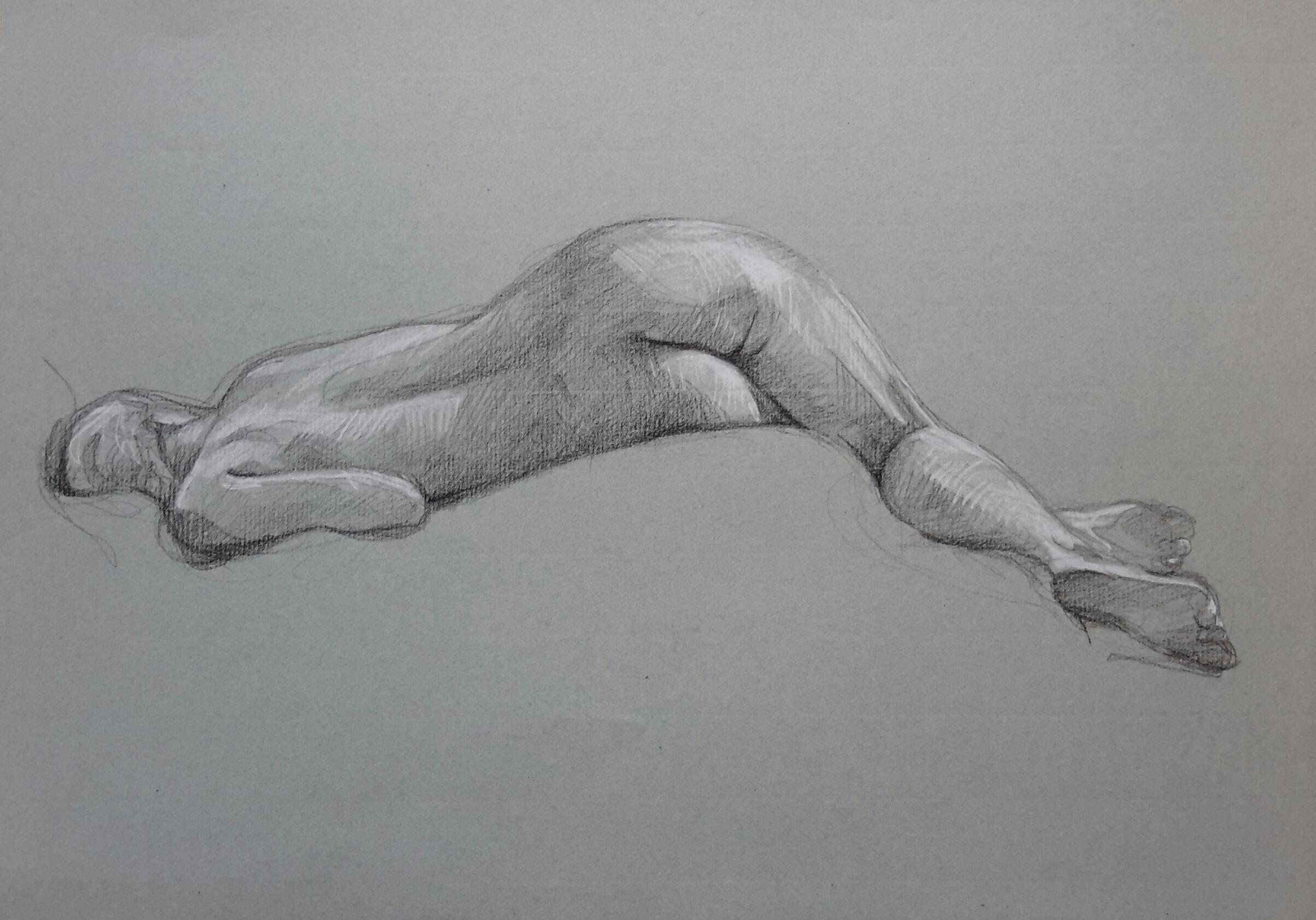 Modèle vivant 4 : pierre noire et crayon blanc