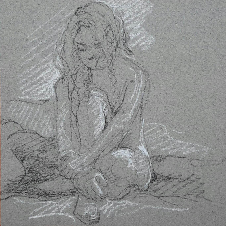 Modèle vivant 35 : pierre noire et crayon blanc