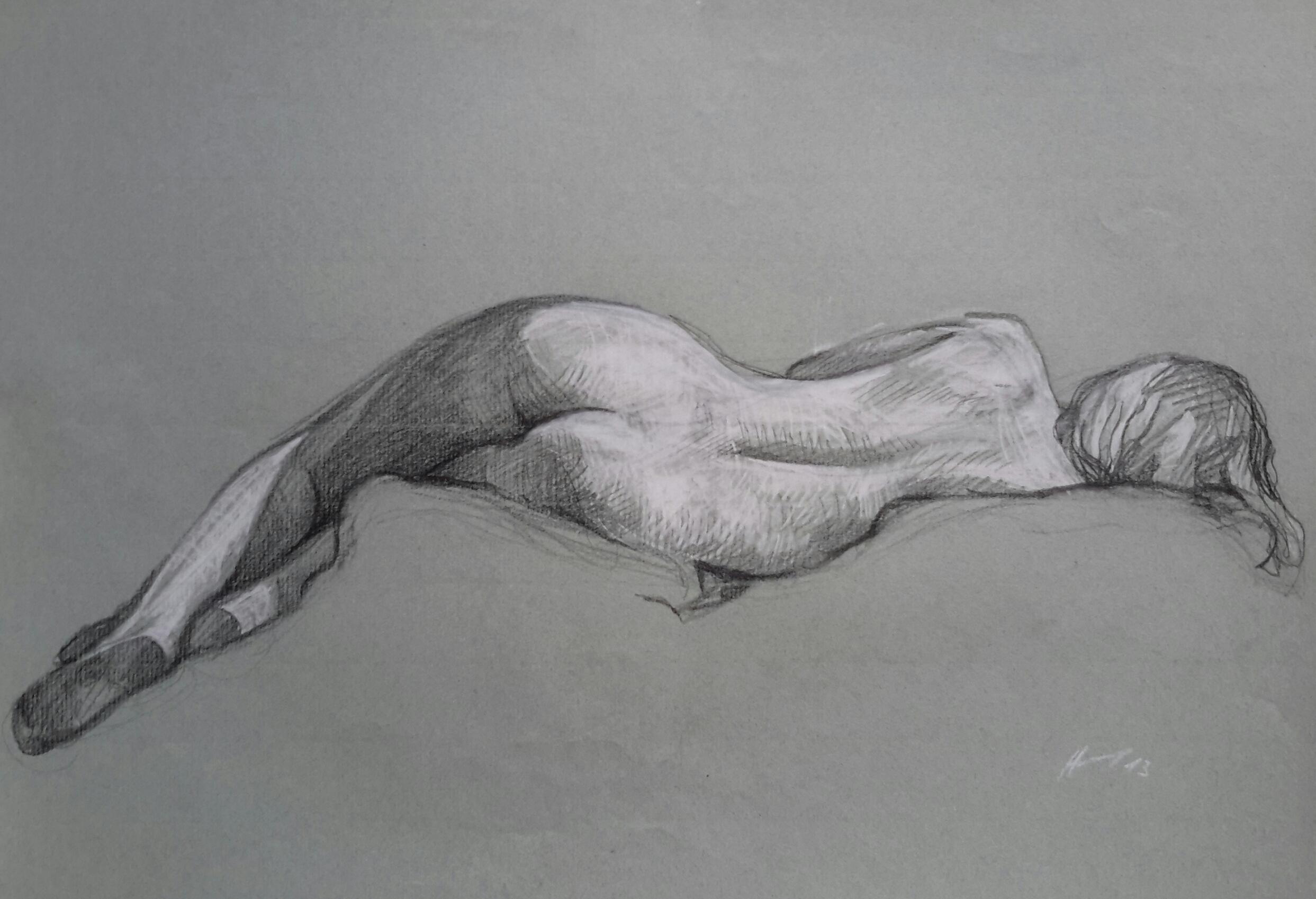 Modèle vivant 5 : pierre noire et crayon blanc