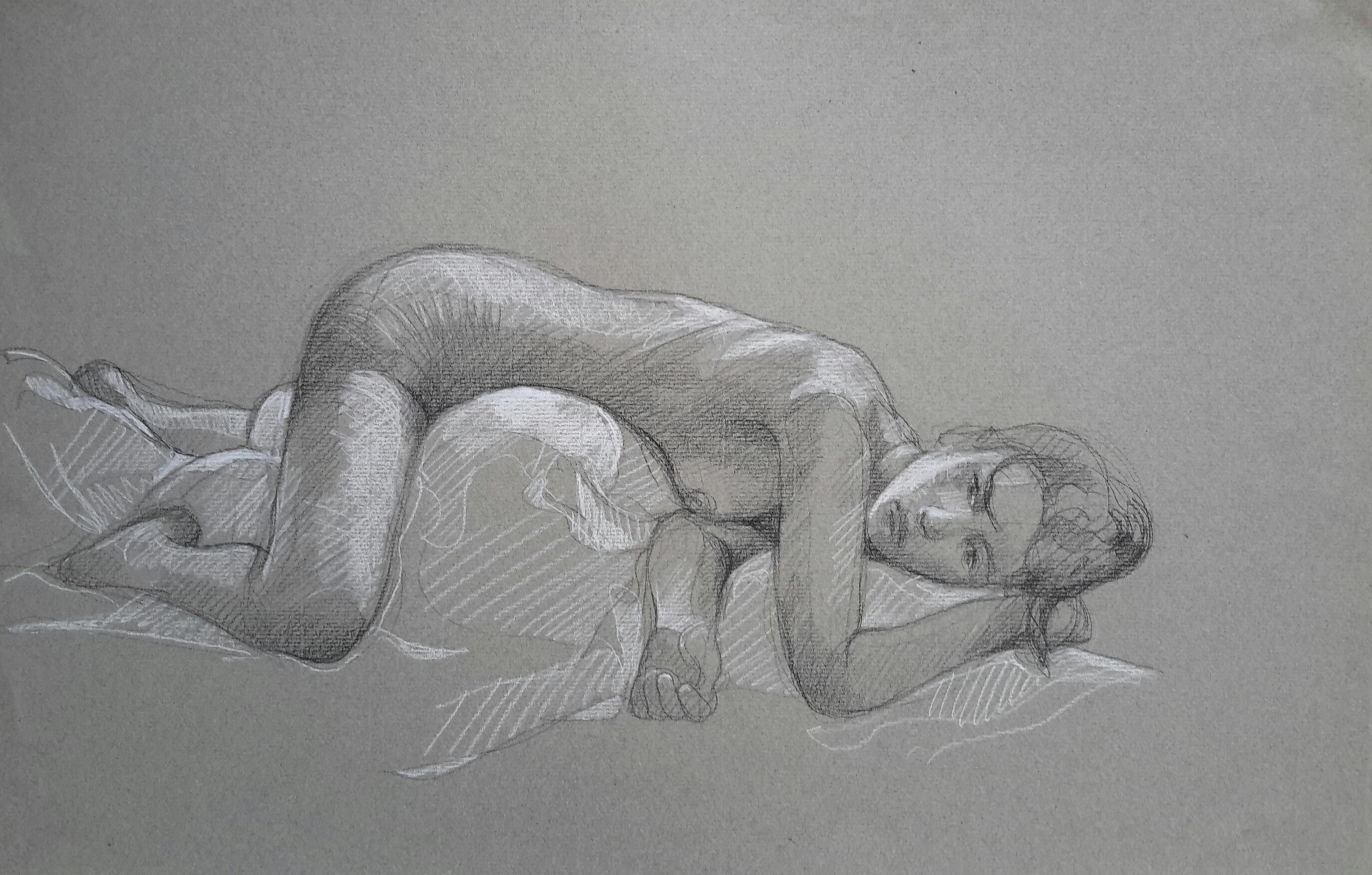 Modèle vivant 6 : pierre noire et crayon blanc