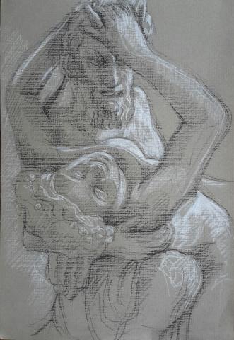 Satyre et Bacchante pierre noire et crayon blanc