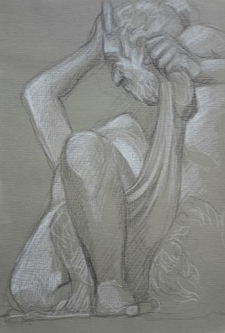 Satyre et Bacchante 2 pierre noire et crayon blanc