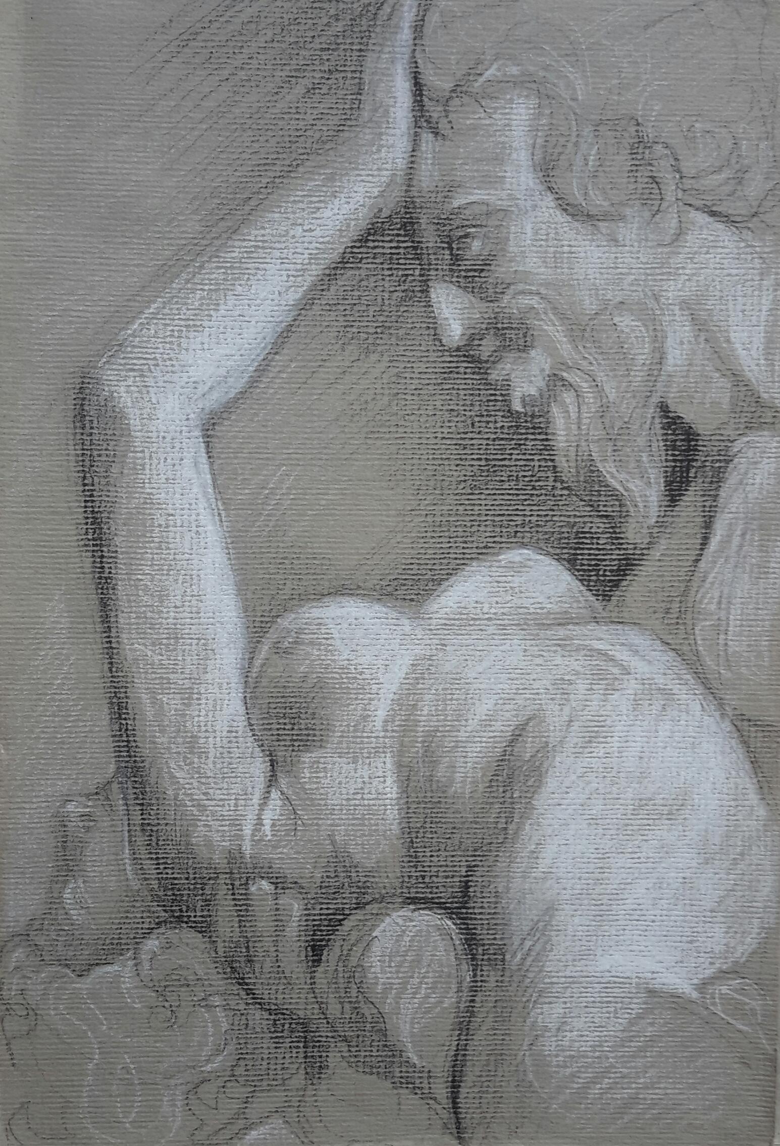Satyre et Bacchante 3 pierre noire et crayon blanc