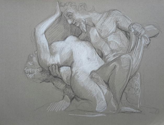 Satyre et Bacchante 4 pierre noire et crayon blanc
