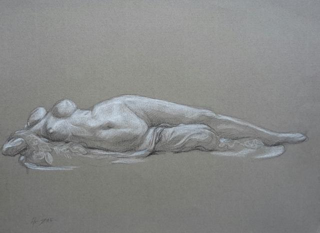 Femme au serpent pierre noire et crayon blanc