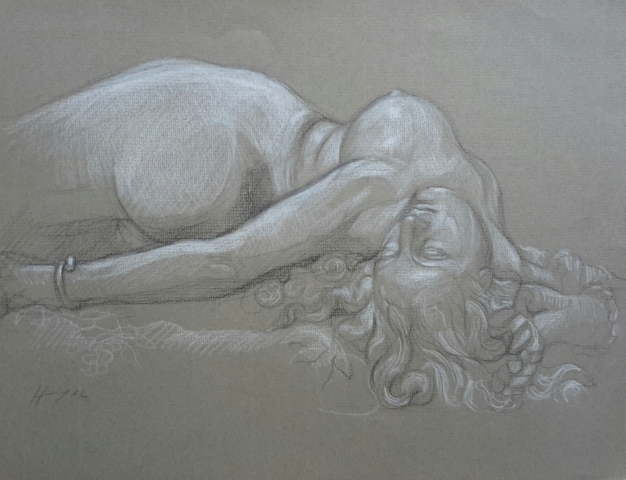 Femme au serpent 2 pierre noire et crayon blanc