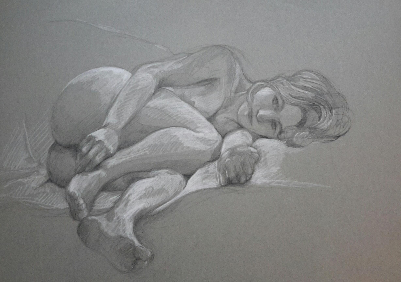 Modèle vivant 9 : pierre noire et crayon blanc