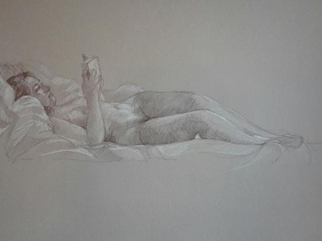Modèle vivant 9 : sépia et crayon blanc