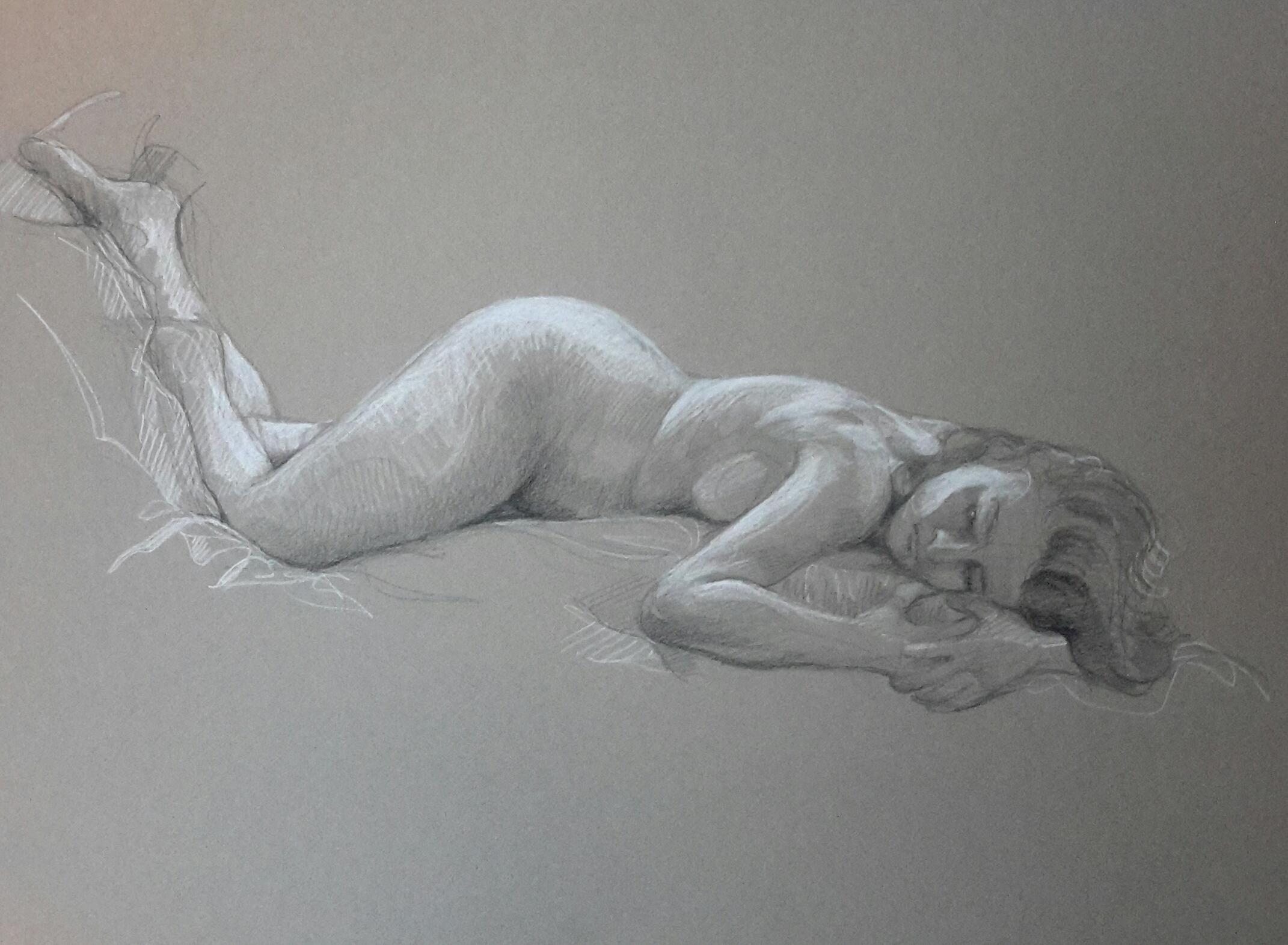 Modèle vivant 13 : pierre noire et crayon blanc