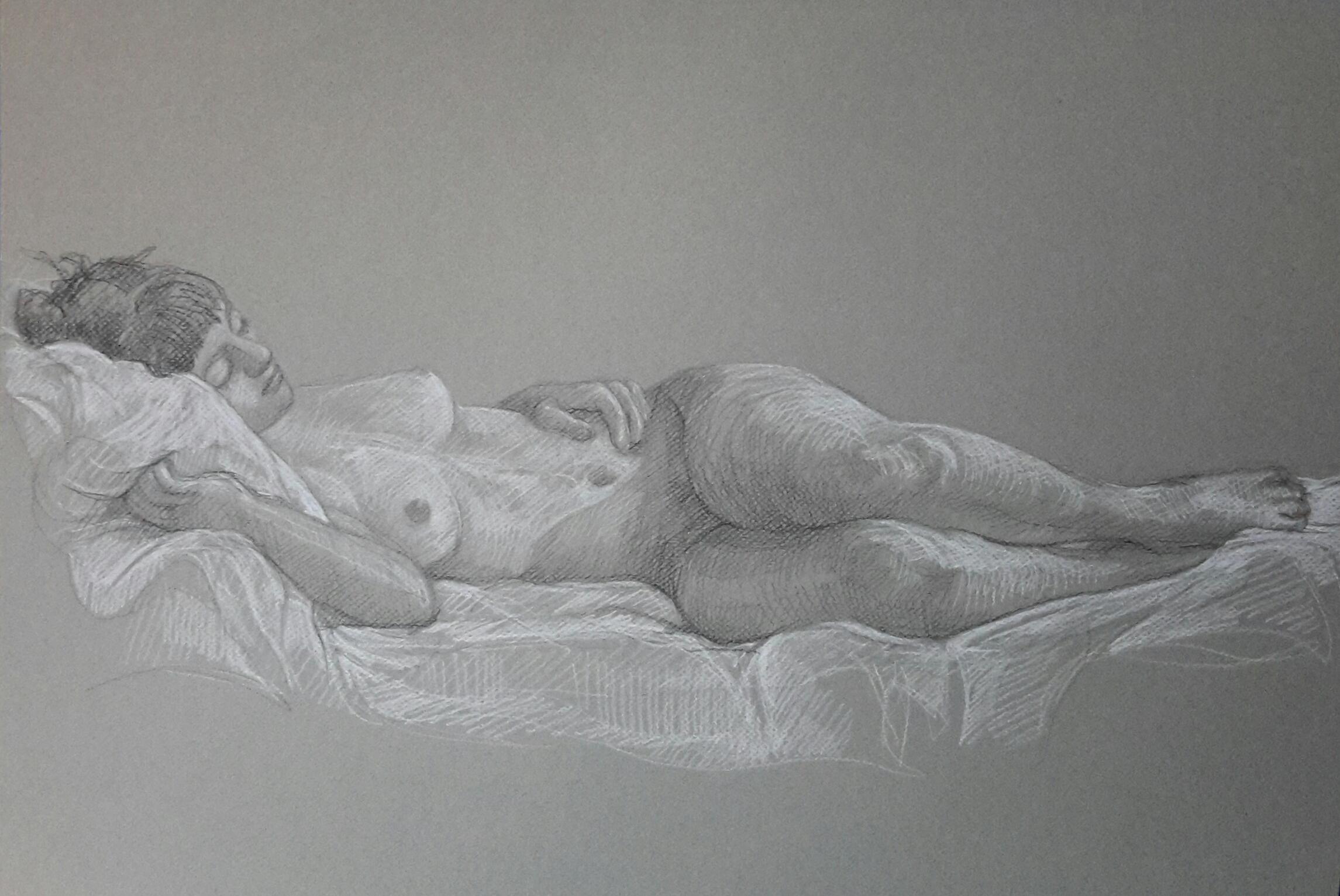Modèle vivant 15 : pierre noire et crayon blanc