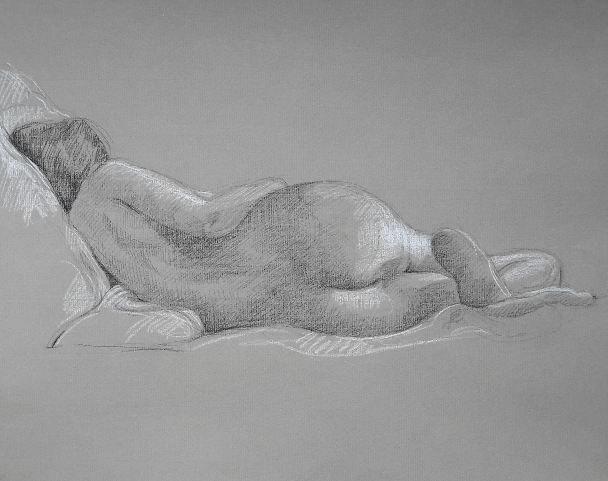 Modèle vivant 23 : pierre noire et crayon blanc