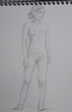 Modèle vivant 4 : croquis crayon graphite HB