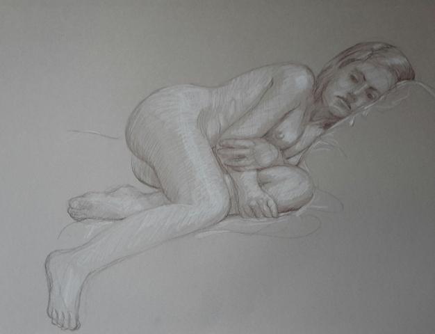 Modèle vivant 6 : sépia et crayon blanc