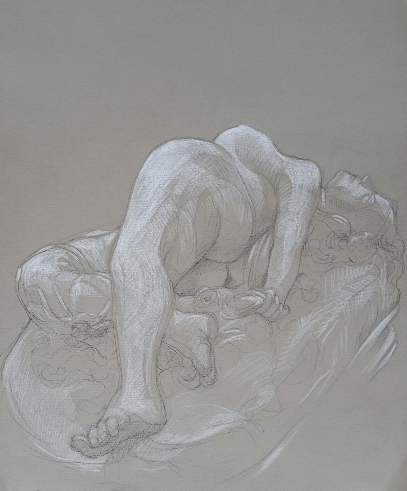Femme au serpent 3 pierre noire et crayon blanc