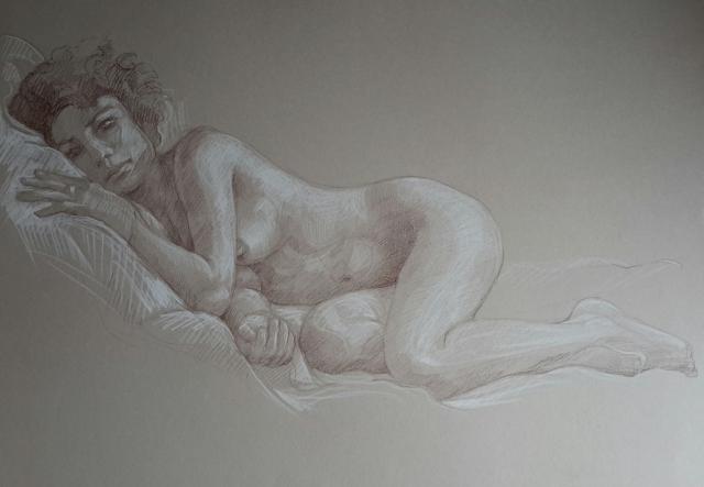 Modèle vivant 12 : sépia et crayon blanc