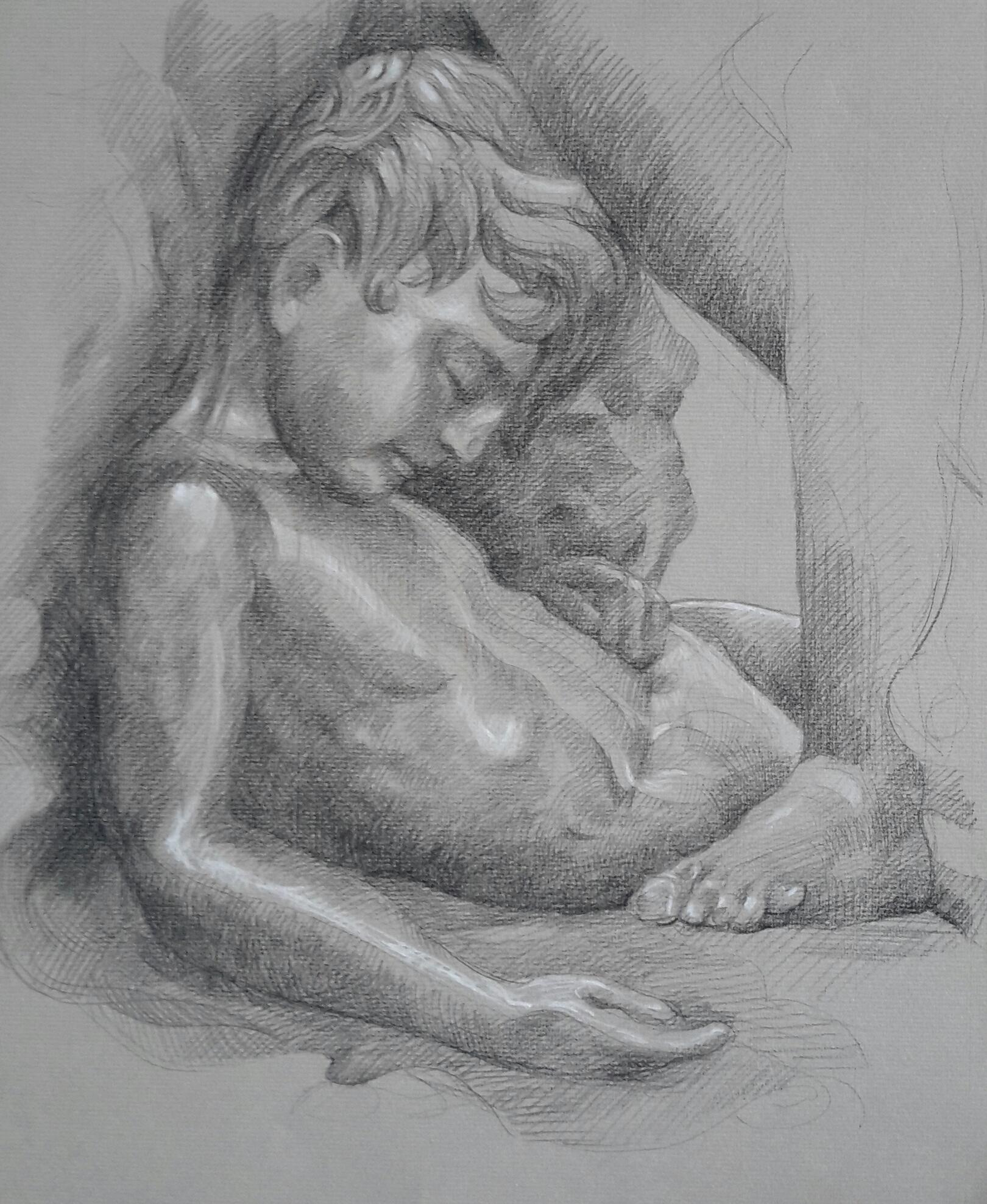 Ugolin pierre noire et crayon blanc