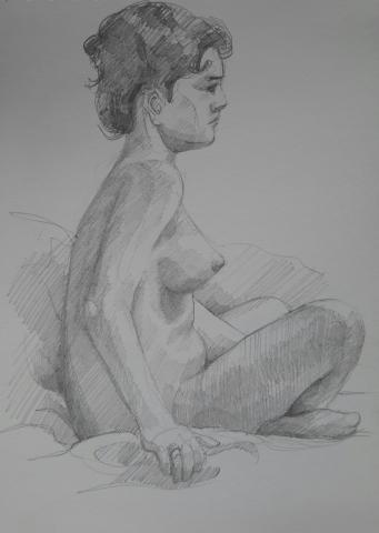 Modèle vivant : croquis crayon graphite HB