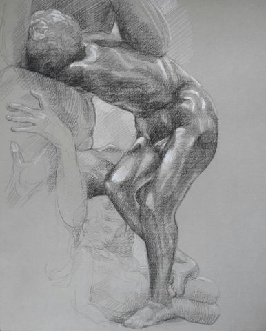 Ugolin 2 pierre noire et crayon blanc