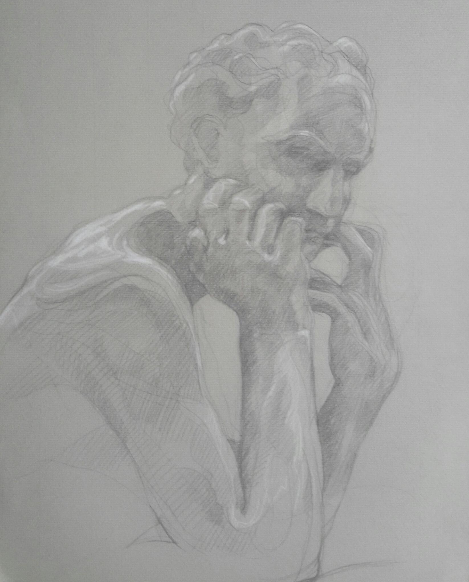 Ugolin 3 pierre noire et crayon blanc